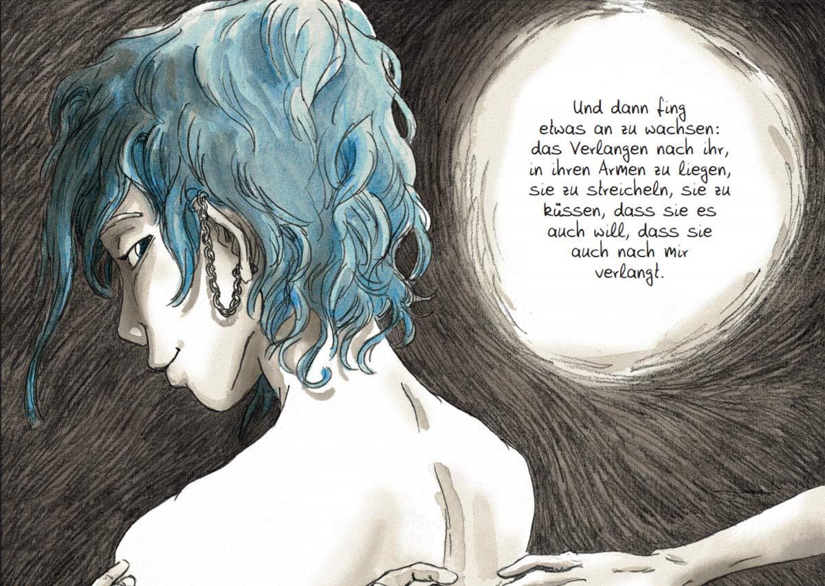 "Szene aus dem Comic ""Blau ist eine warme Farbe"""